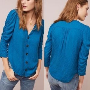 Anthropologie Maeve Jourdain Button Blue Blouse 0P